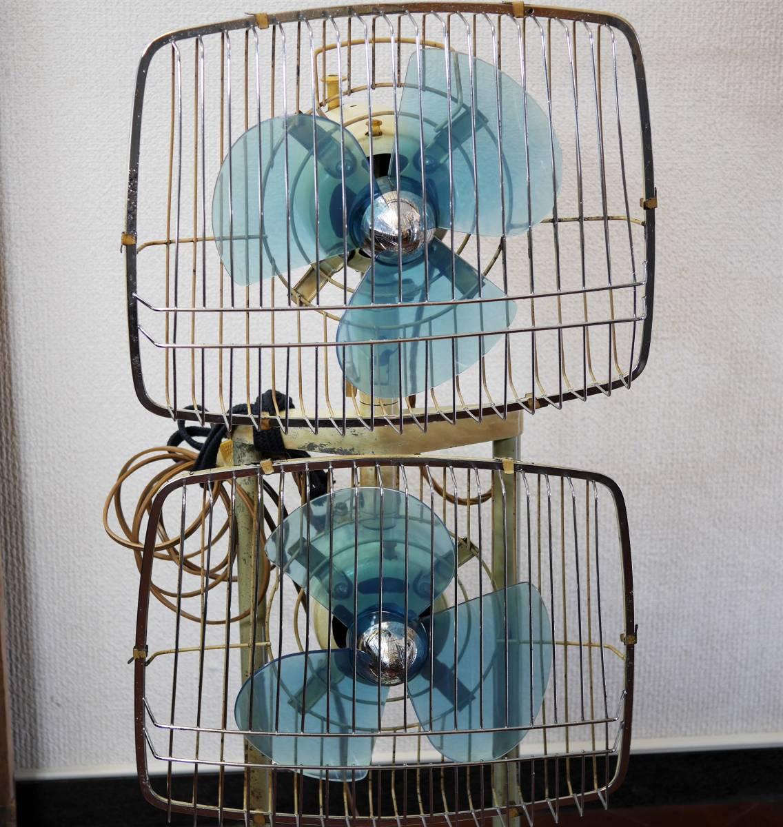 可動品!◆ FUJI 2連式 扇風機 希少 レトロ 当時物【Silent Pair】アンティーク_画像2