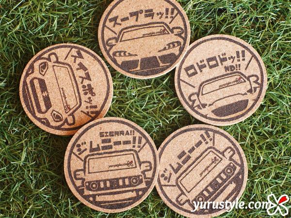 SWIFT Sport:ユルスタ★ひょっこり くるまっこコースター/スイスポ スイフト ZC33S SUZUKI スズキ*レーザー焼印_画像4