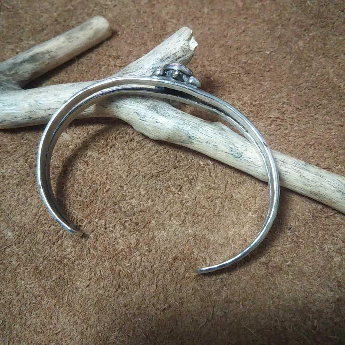 インディアンジュエリー ナバホ族 亀 ターコイズ シルバーバングル ブレスレット♯ネイティブアメリカン ホピ族 ズニ族 sterling silver925_画像2