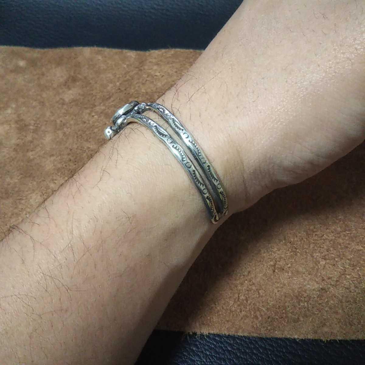 インディアンジュエリー ナバホ族 亀 ターコイズ シルバーバングル ブレスレット♯ネイティブアメリカン ホピ族 ズニ族 sterling silver925_画像7