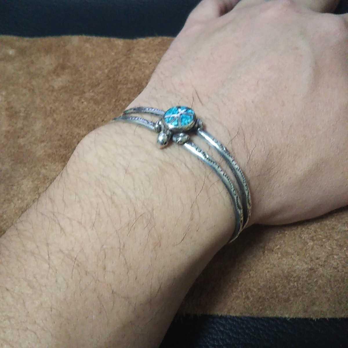 インディアンジュエリー ナバホ族 亀 ターコイズ シルバーバングル ブレスレット♯ネイティブアメリカン ホピ族 ズニ族 sterling silver925_画像6