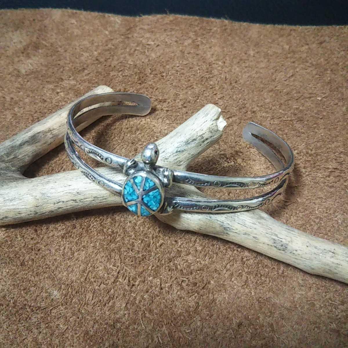 インディアンジュエリー ナバホ族 亀 ターコイズ シルバーバングル ブレスレット♯ネイティブアメリカン ホピ族 ズニ族 sterling silver925_画像1