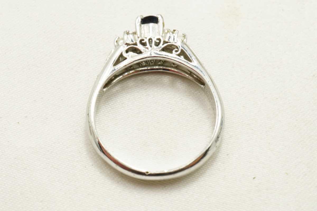 M13 天然サファイア ヴィンテージリング 指輪 アクセサリー 刻印 天然石 宝石 コランダム カラーストーン 色石 ビンテージ アンティーク_画像6