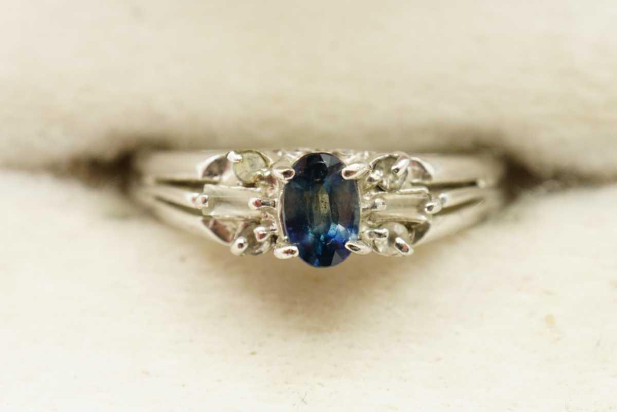M13 天然サファイア ヴィンテージリング 指輪 アクセサリー 刻印 天然石 宝石 コランダム カラーストーン 色石 ビンテージ アンティーク_画像1