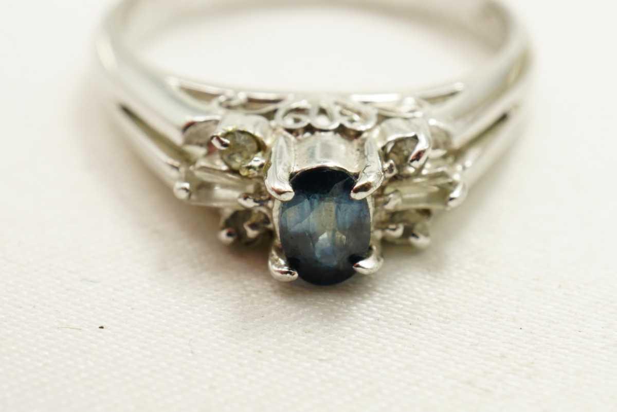 M13 天然サファイア ヴィンテージリング 指輪 アクセサリー 刻印 天然石 宝石 コランダム カラーストーン 色石 ビンテージ アンティーク_画像7