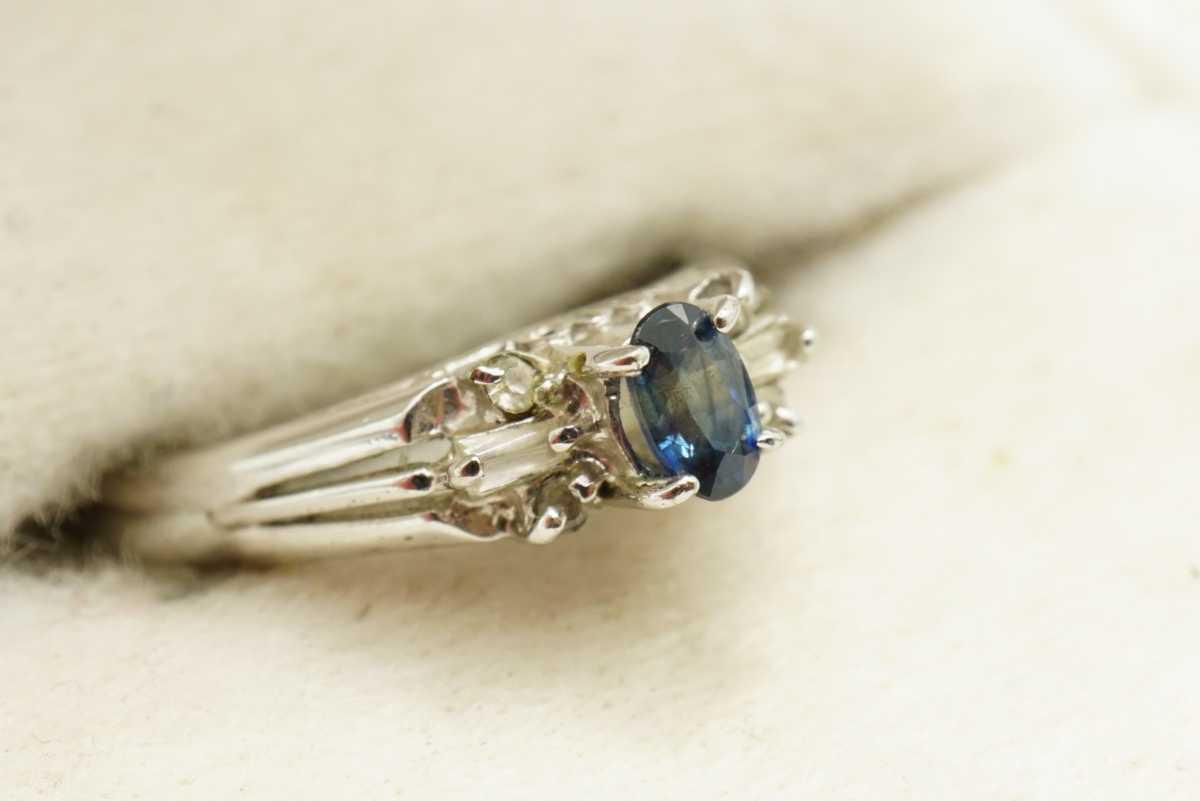 M13 天然サファイア ヴィンテージリング 指輪 アクセサリー 刻印 天然石 宝石 コランダム カラーストーン 色石 ビンテージ アンティーク_画像2