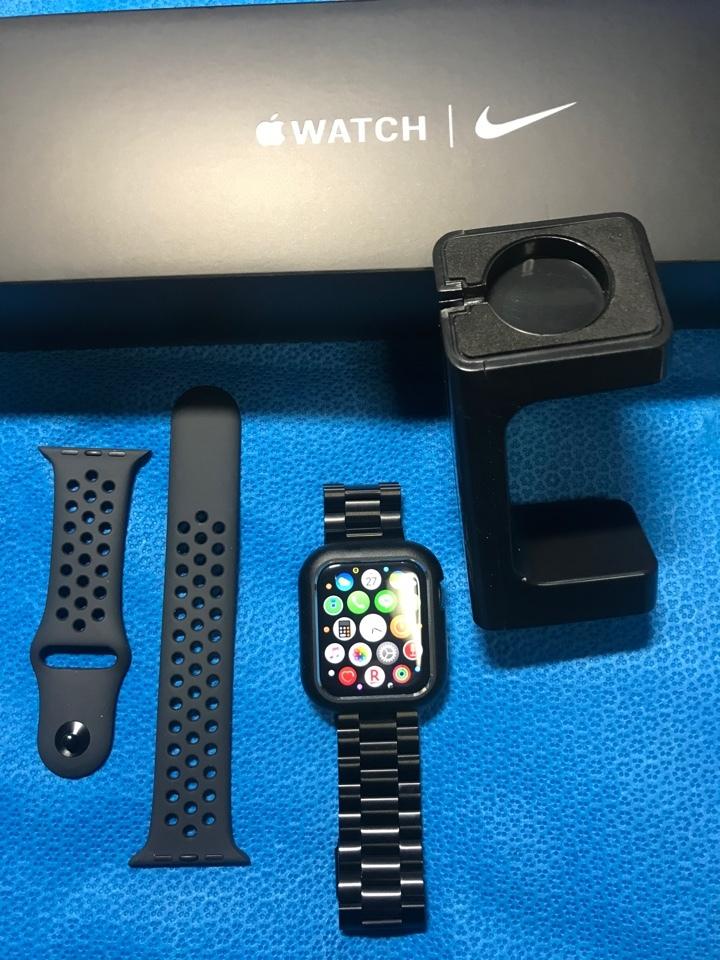 Apple watch series 5 ナイキ44mm 3D表面硬度6H保護ガラス ステンレスバンド 本体ステンレスカバー 充電スタンド
