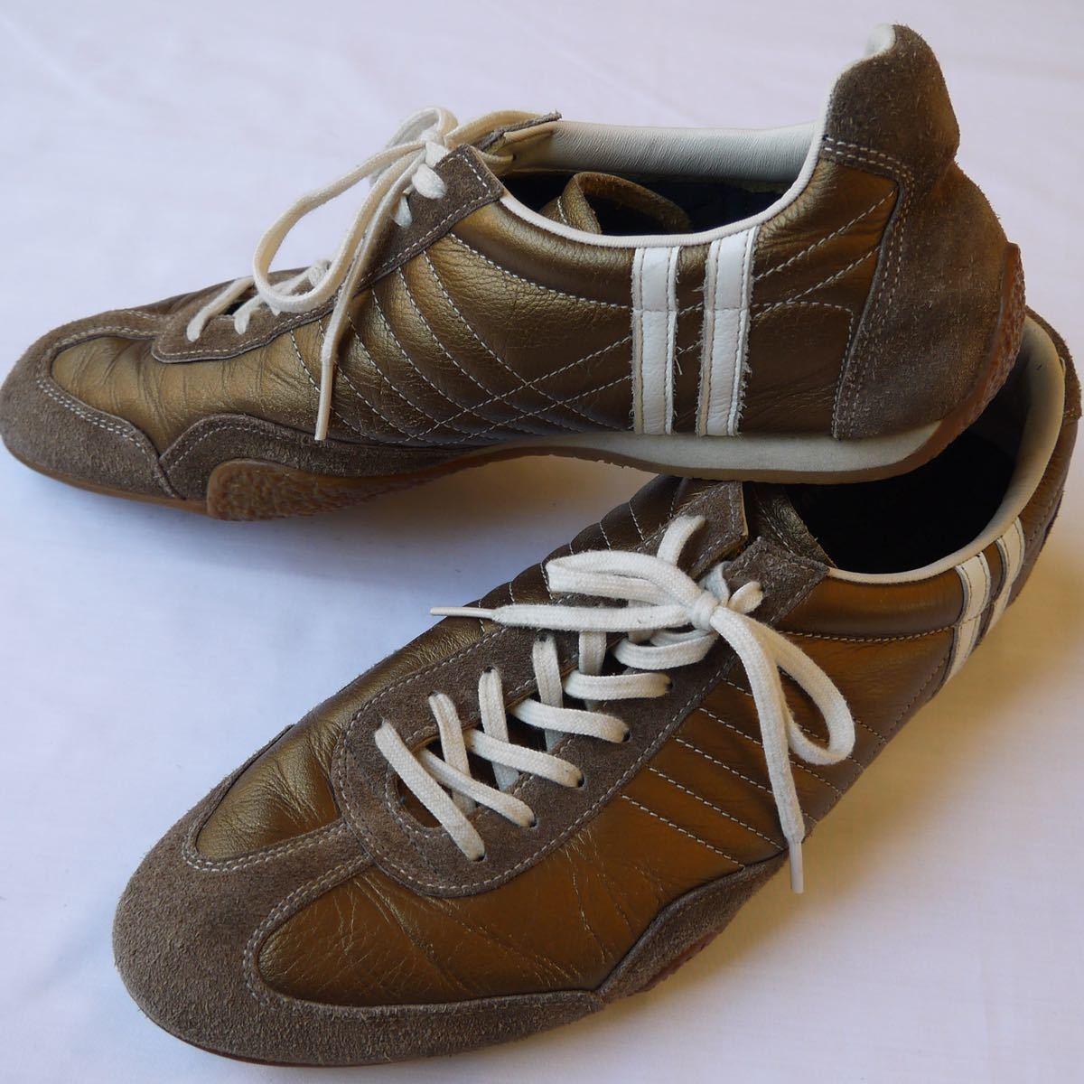 美品◆パトリックジェット44レザースエードスニーカー27.5cmメンズ靴ブロンズ