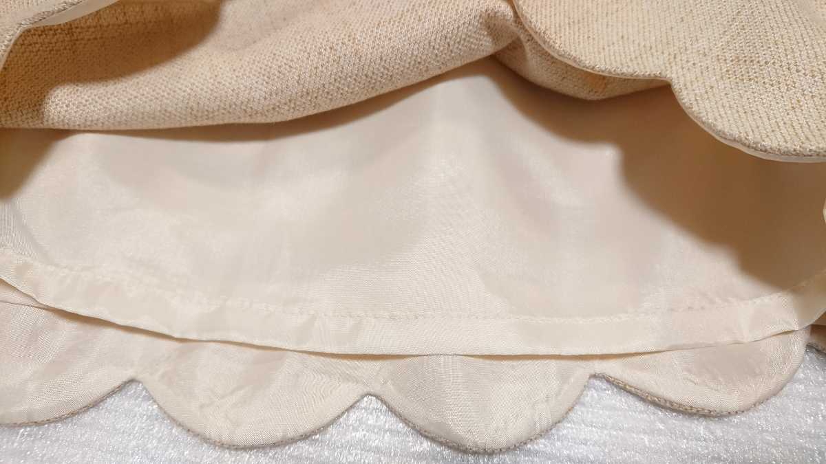 送料無料☆レストローズ L'EST ROSE☆スカラップ キュロットスカート ショートパンツ 日本製 ベージュ アイボリー キュロットパンツ_画像9