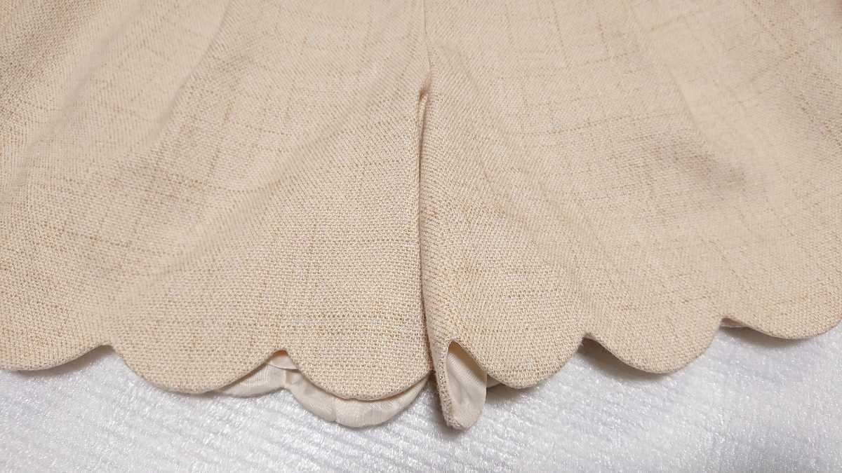 送料無料☆レストローズ L'EST ROSE☆スカラップ キュロットスカート ショートパンツ 日本製 ベージュ アイボリー キュロットパンツ_画像6