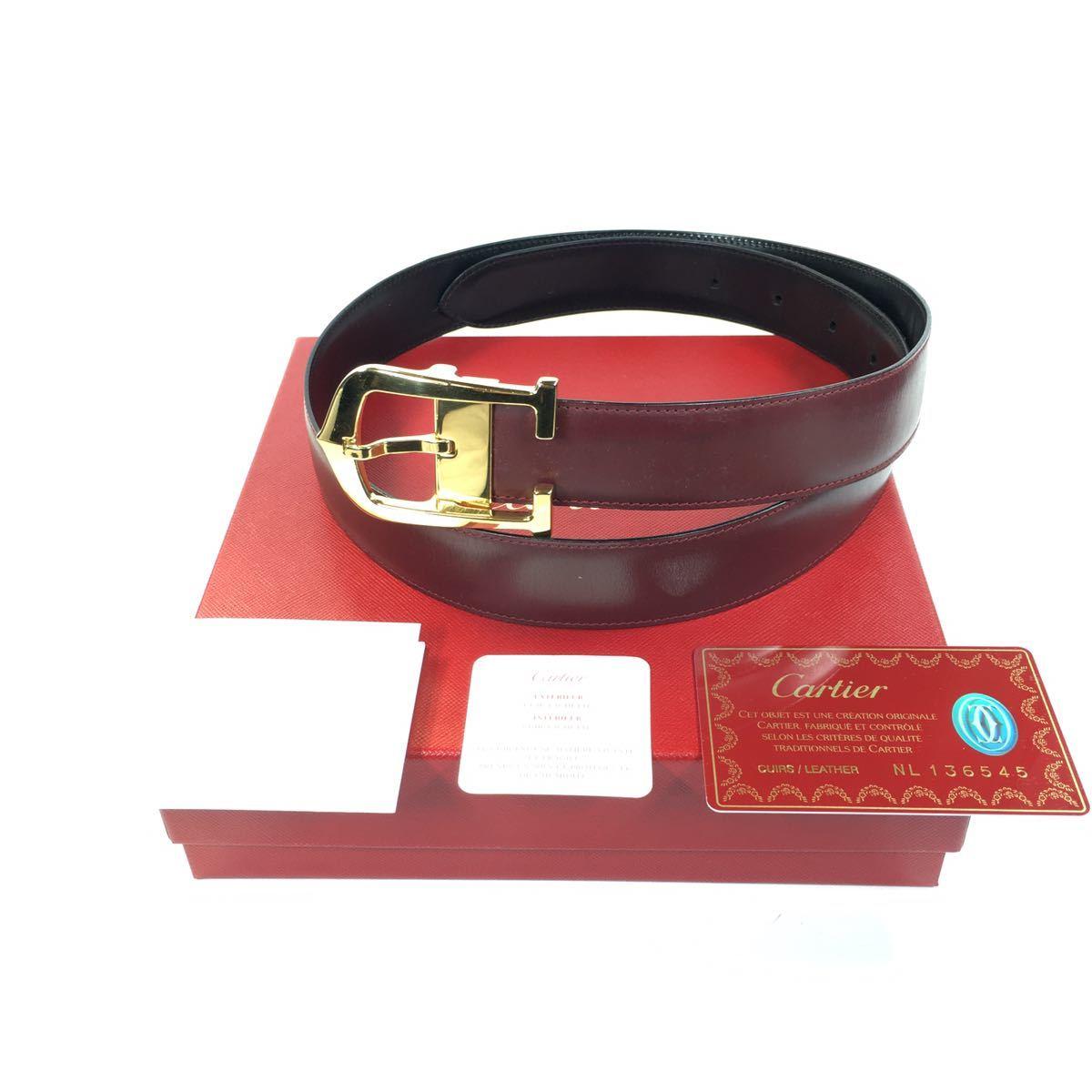 【カルティエ】本物 Cartier ベルト ロング C バックル アロンジェ 全長99cm 幅3cm メンズ サイズ調整可能 箱 ギャランティ有り 送料520円_画像1