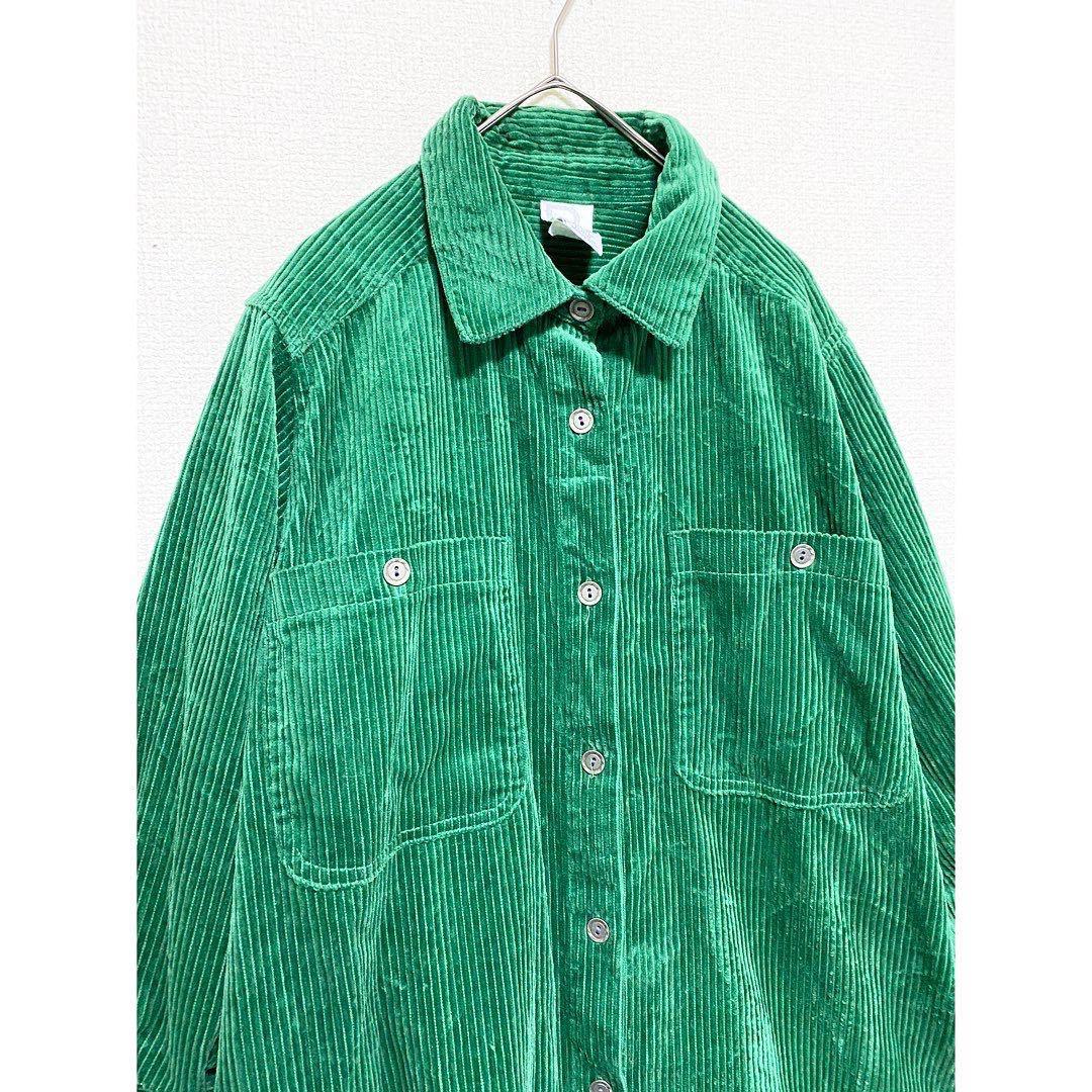 vintage ヴィンテージ ビンテージ レトロ usa 90s グリーン 緑 太畝 コーズ コーデュロイ オーバーサイズ ビッグサイズ シャツ ワンピース_画像2