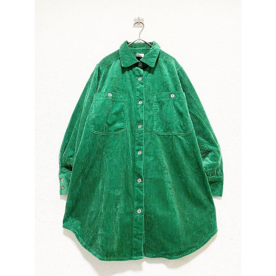 vintage ヴィンテージ ビンテージ レトロ usa 90s グリーン 緑 太畝 コーズ コーデュロイ オーバーサイズ ビッグサイズ シャツ ワンピース_画像1