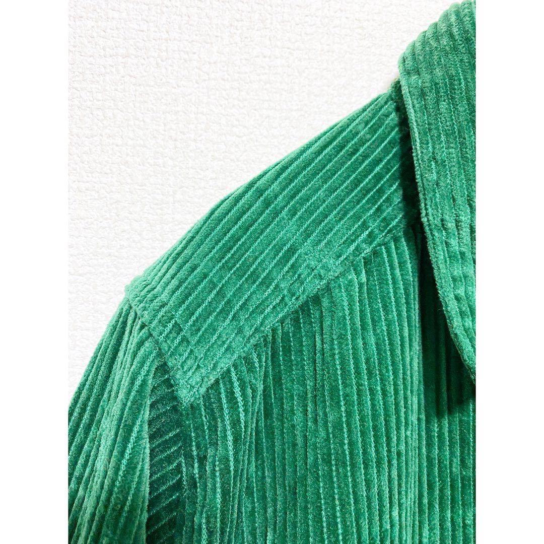 vintage ヴィンテージ ビンテージ レトロ usa 90s グリーン 緑 太畝 コーズ コーデュロイ オーバーサイズ ビッグサイズ シャツ ワンピース_画像4