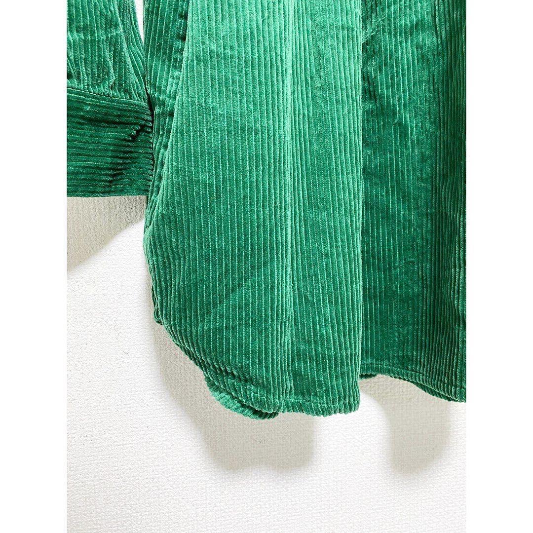vintage ヴィンテージ ビンテージ レトロ usa 90s グリーン 緑 太畝 コーズ コーデュロイ オーバーサイズ ビッグサイズ シャツ ワンピース_画像6