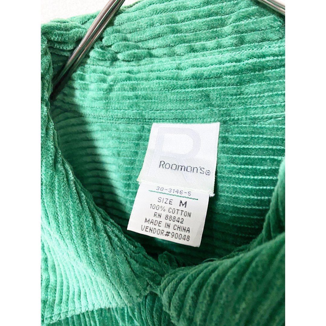 vintage ヴィンテージ ビンテージ レトロ usa 90s グリーン 緑 太畝 コーズ コーデュロイ オーバーサイズ ビッグサイズ シャツ ワンピース_画像7