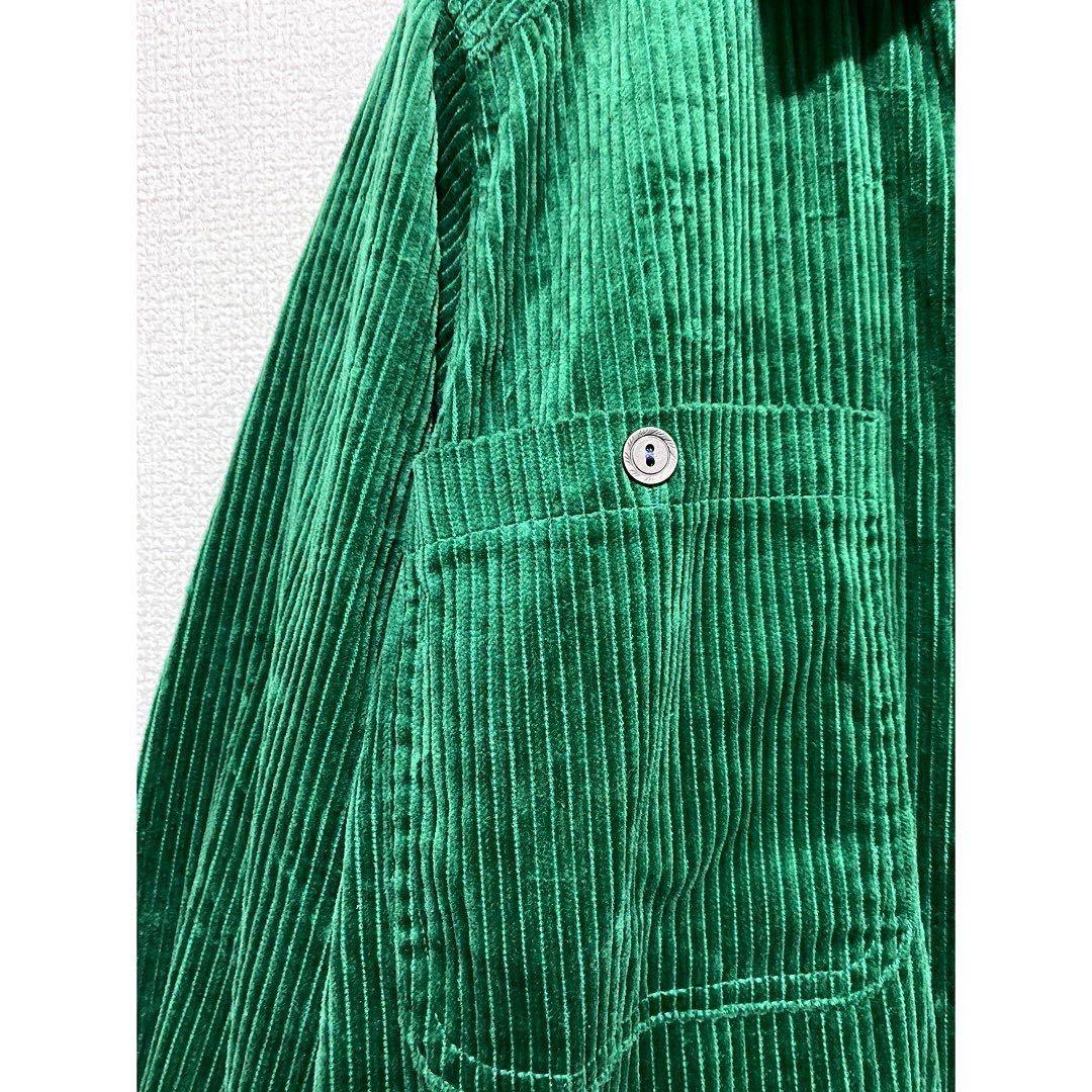 vintage ヴィンテージ ビンテージ レトロ usa 90s グリーン 緑 太畝 コーズ コーデュロイ オーバーサイズ ビッグサイズ シャツ ワンピース_画像3