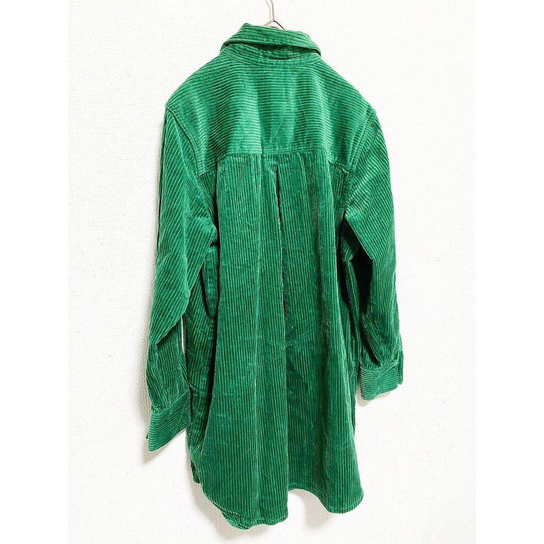 vintage ヴィンテージ ビンテージ レトロ usa 90s グリーン 緑 太畝 コーズ コーデュロイ オーバーサイズ ビッグサイズ シャツ ワンピース_画像5