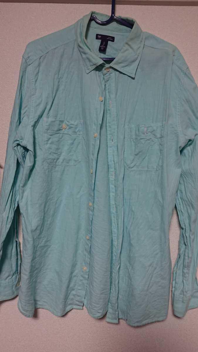 長袖シャツ ボタンダウンシャツ ギャップ gap ブルー シャツ l
