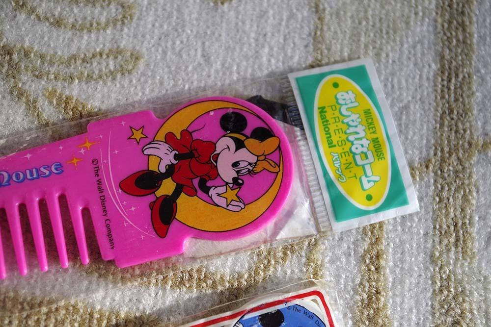 Nationalパルック景品ミニーのコームとミッキーのボールペン2点非売品デットストック看板ドリンク広告キャラクタージャンクです。_画像3