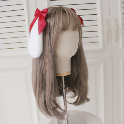 【2個セット】赤リボンウサギ耳のヘアークリップ/アリス/コスプレ/ロリータ_画像2
