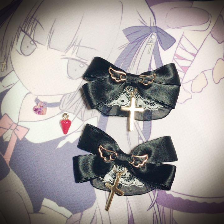 きらめきミニリボン 黒 ヘアピン ヘアクリップ クラロリ 姫系 ゴスロリ ロリータ ゆめかわいい ロリィタ 病みかわいい 量産型_画像1