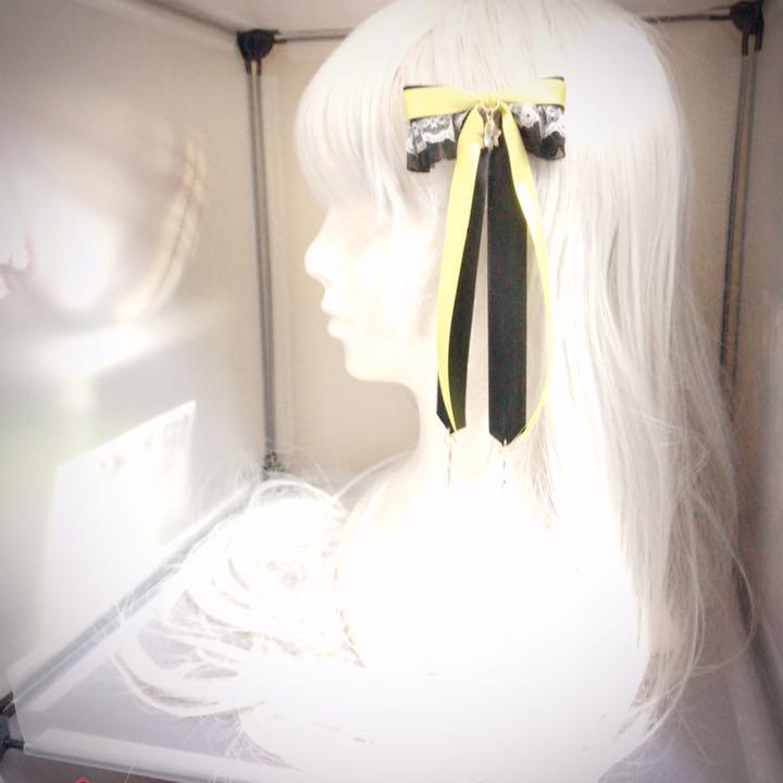 真実のリボン 黒イエロー ヘアピン ヘアクリップ クラロリ 姫系 原宿系 ゴスロリ ロリータ ゆめかわいい ロリィタ 病みかわいい_画像4