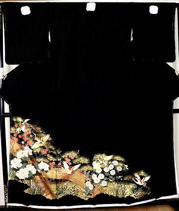 【送料無料】黒留袖★正絹★夫婦鶴 ki24325【新品】_画像1