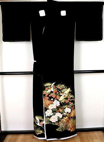 【送料無料】黒留袖★正絹★夫婦鶴 ki24325【新品】_画像4