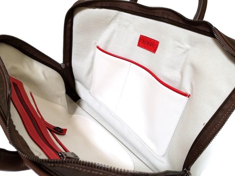 1円~30万本物新品 ISAIAイザイア 総レザーブリーフケース 茶 小細工抜きで戦えるビジネスバッグ スーツ ジャケットスタイルに_画像7
