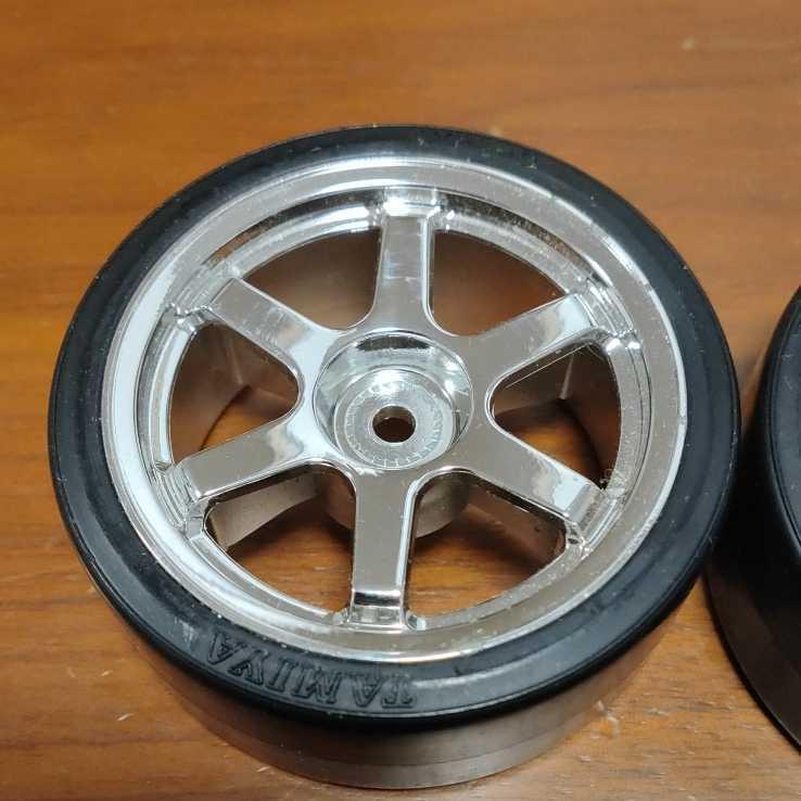 ドリフトタイヤtype-DタイプdtypeDタイプ-DタミヤTAMIYA田宮6本スポークシルバーメッキ1台分4本セット未走行品送料込み