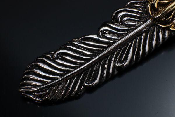 シルバー 925 SV925 silver 純銀 フェザー 羽 上金 ホイール 2連 ペンダントトップ チャーム 右向き 刻印有 メンズ 新品_画像3