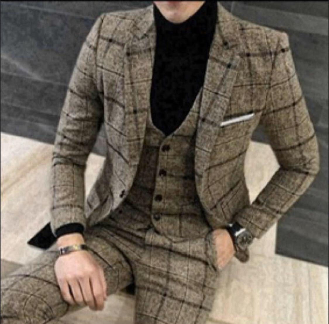 スーツ イエロー 3点セット M ジャケット パンツ ベスト チェック フォーマル ビジネス ボトムス ジレ ボーダー ストライプ