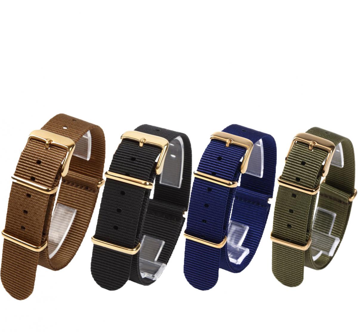 時計ベルト16mm 4本セット NATO ゴールドバックル ショートサイズ 取付けマニュアル 腕時計バンドセット売り_画像1