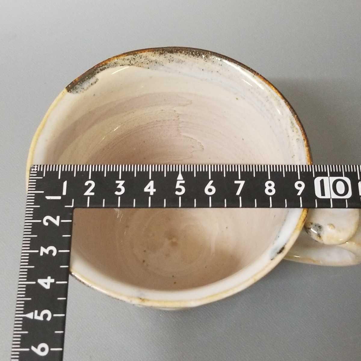 富09)萩焼 渋谷泥詩 白萩マグカップ 珈琲器 茶器 未使用新品 同梱歓迎 _画像9