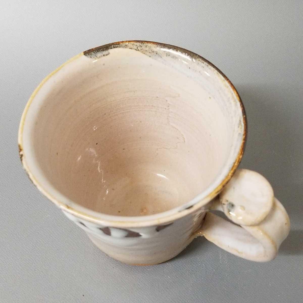 富09)萩焼 渋谷泥詩 白萩マグカップ 珈琲器 茶器 未使用新品 同梱歓迎 _画像5