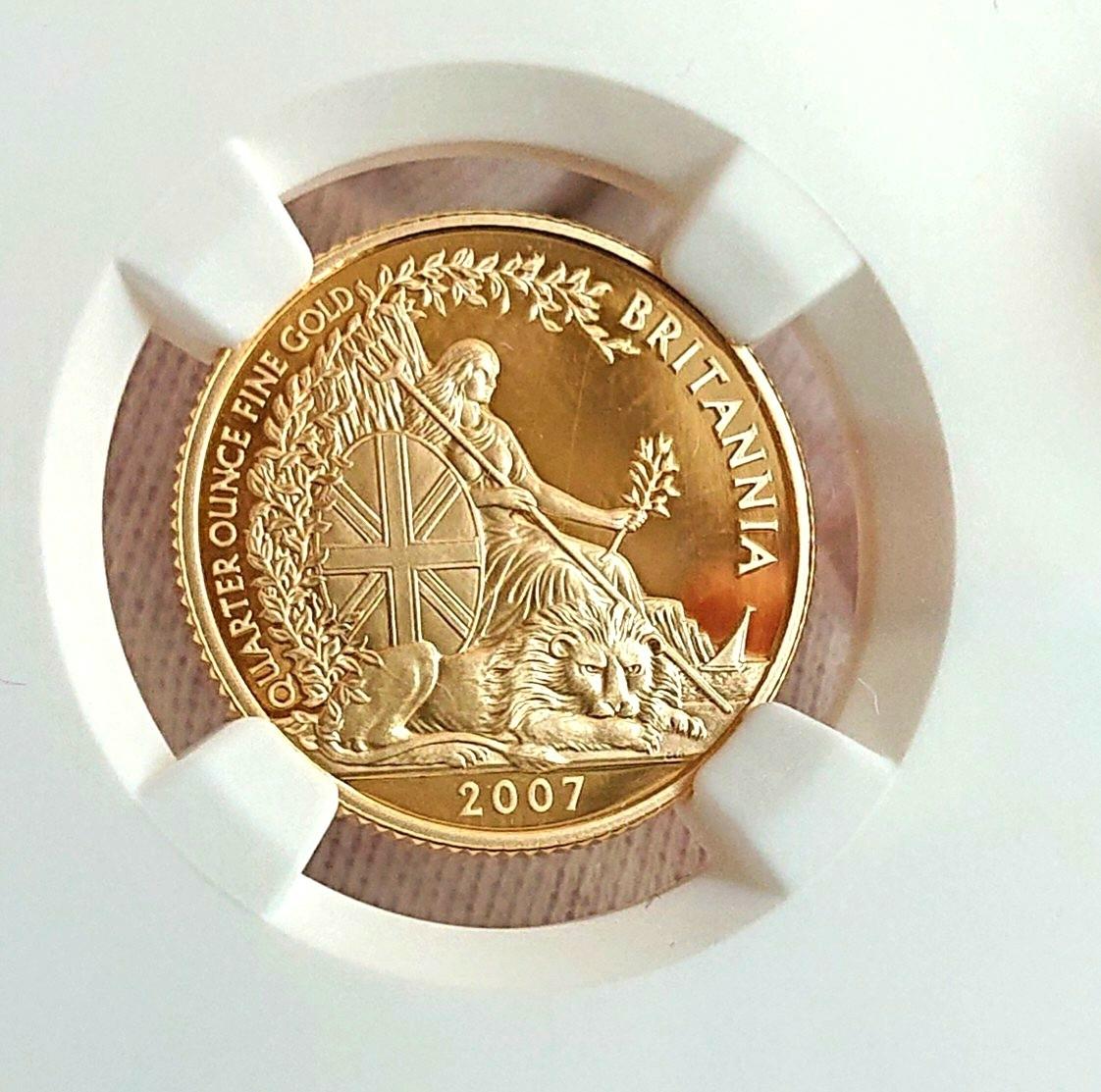 ★2007年 イギリス ブリタニア 金貨 25ポンド NGC PF70UC 英国 ウナ ライオン