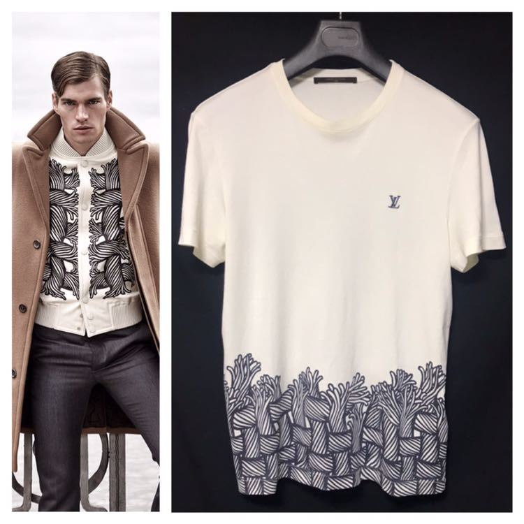 本物 名作 ルイヴィトン クリストファーネメス ロープ Tシャツ S 白 LV刺繍 LOUIS VUITTON_画像1