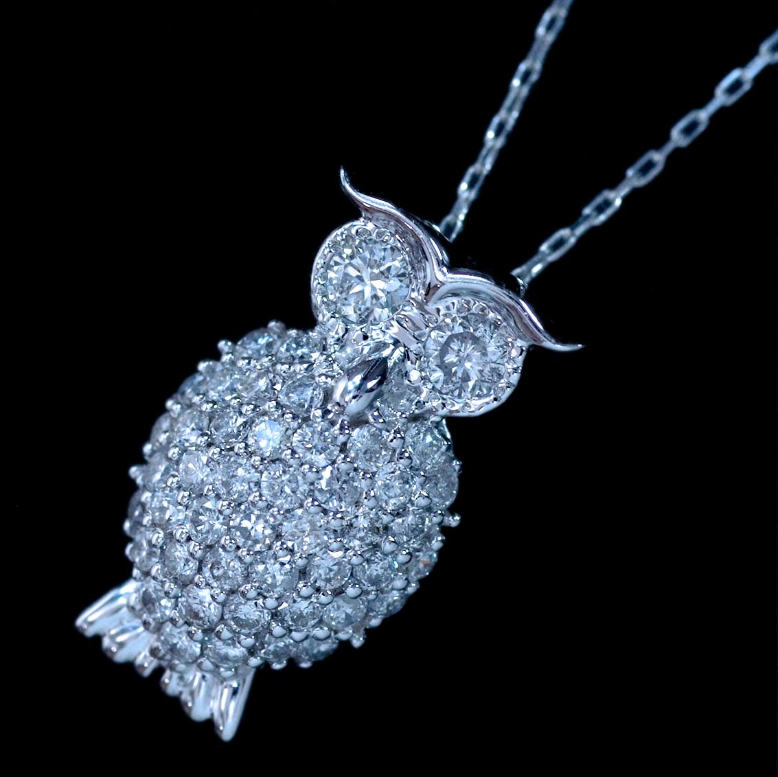 *PN5981【Owl Diamond Necklace】オウルダイヤモンドネックレス 天然絶品ダイヤモンド0.45ct 最高級18金WG無垢ネックレス 新品