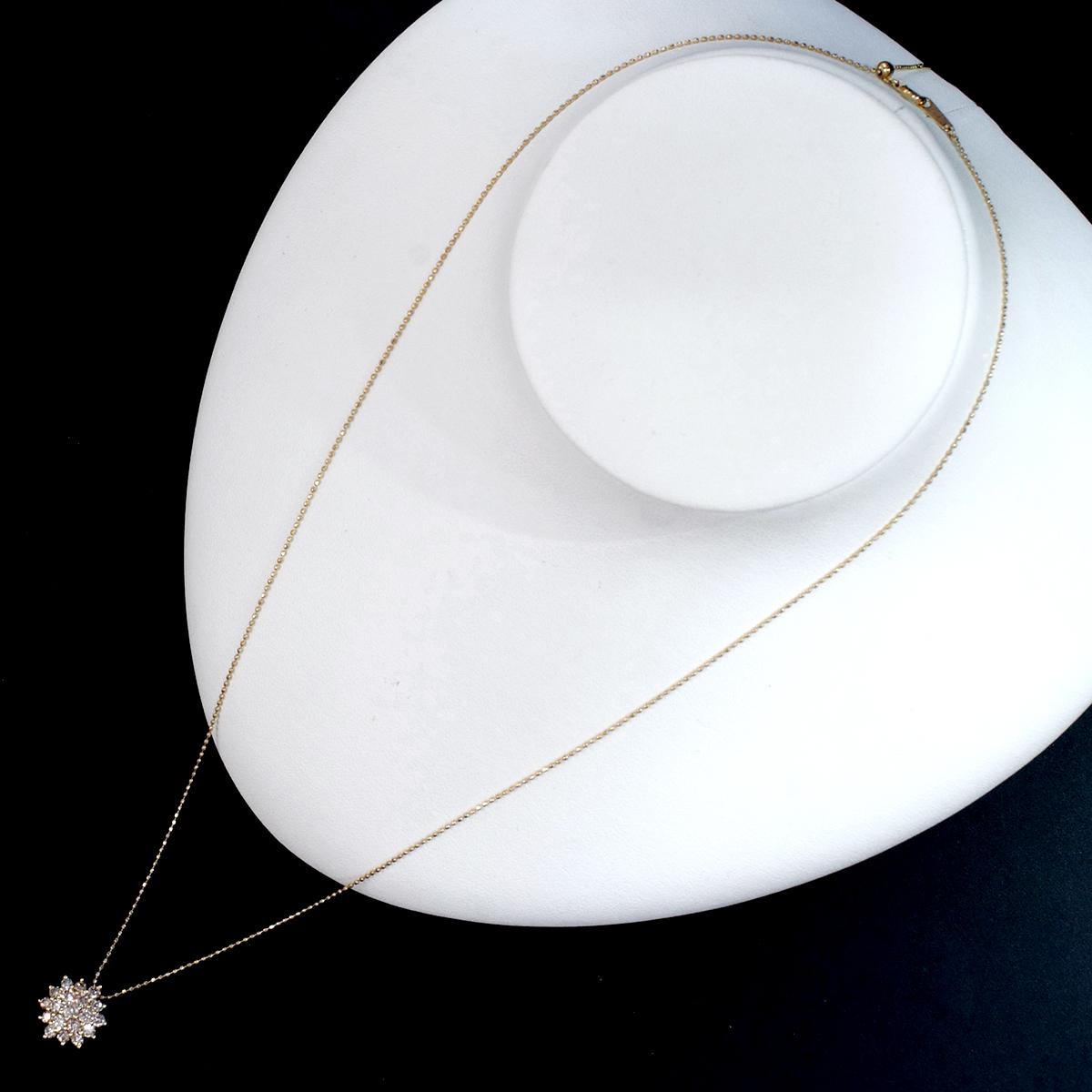 F0855 ファンシーブラウン天然絶品ダイヤモンド1.05ct 最高級18金無垢ネックレス フリーサイズ(最長50cm) 重量3.5g 幅13.5mm_画像4