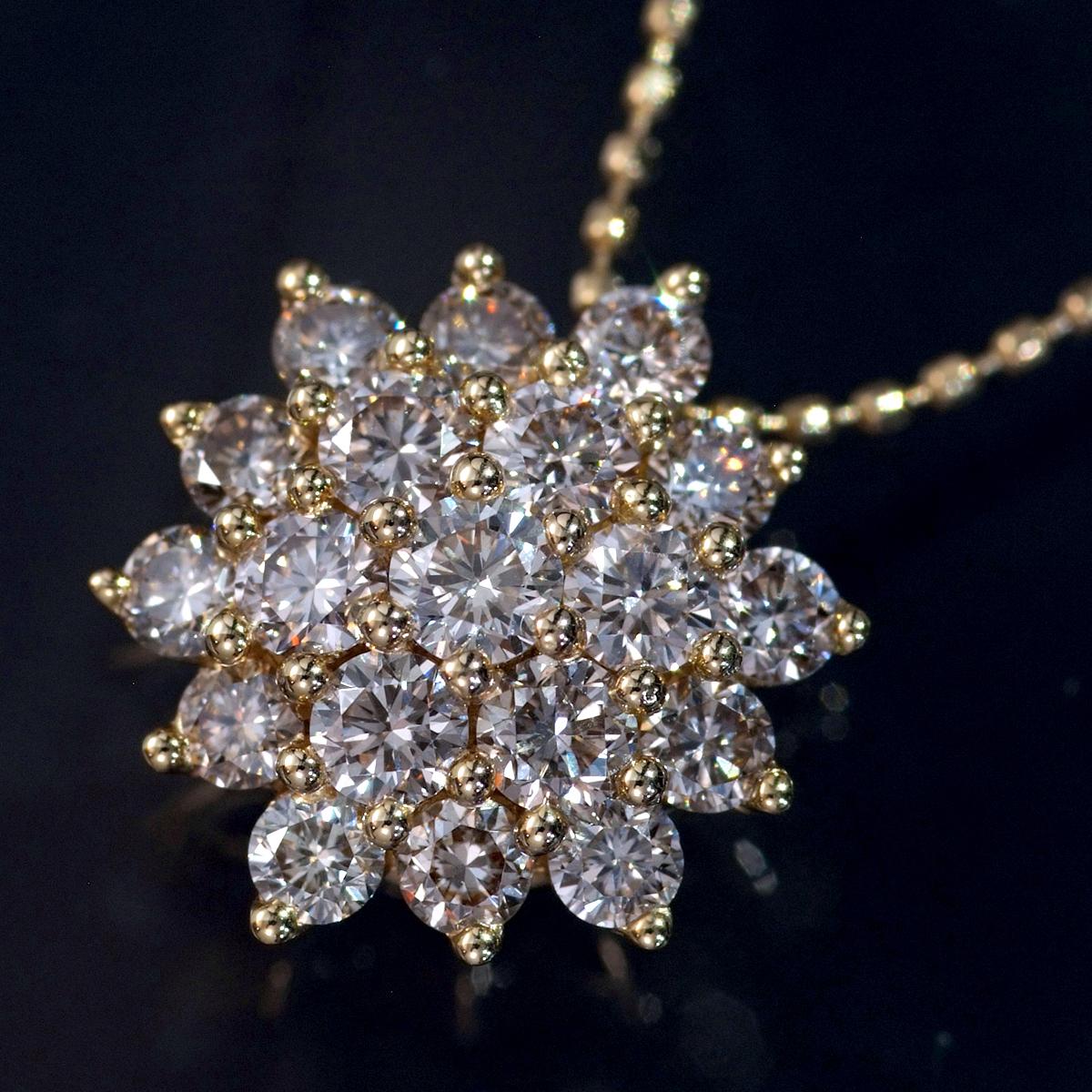 F0855 ファンシーブラウン天然絶品ダイヤモンド1.05ct 最高級18金無垢ネックレス フリーサイズ(最長50cm) 重量3.5g 幅13.5mm_画像1