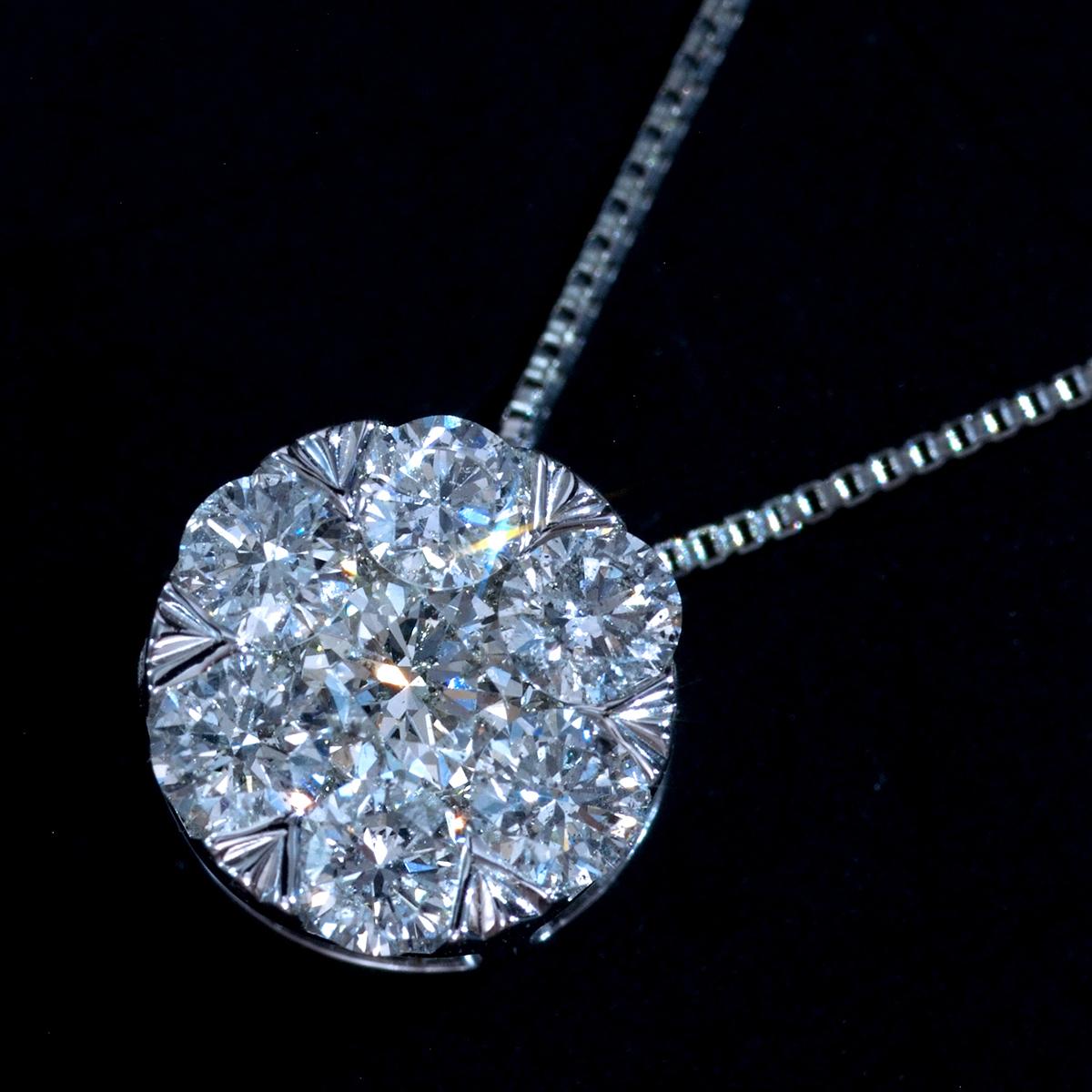 *PN5643 新品!業者向け令和新作Design! 天然上質ダイヤモンド0.60ct 最高級18金WG無垢ネックレス