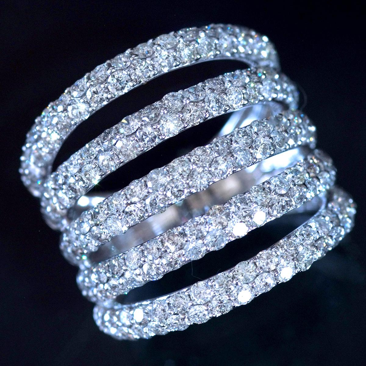 *R4747 令和新作モデル!美しい天然ダイヤモンド3.00ct 最高級18金WG無垢セレブリティビックリング サイズ12號 重量8g 縦幅19.8mm