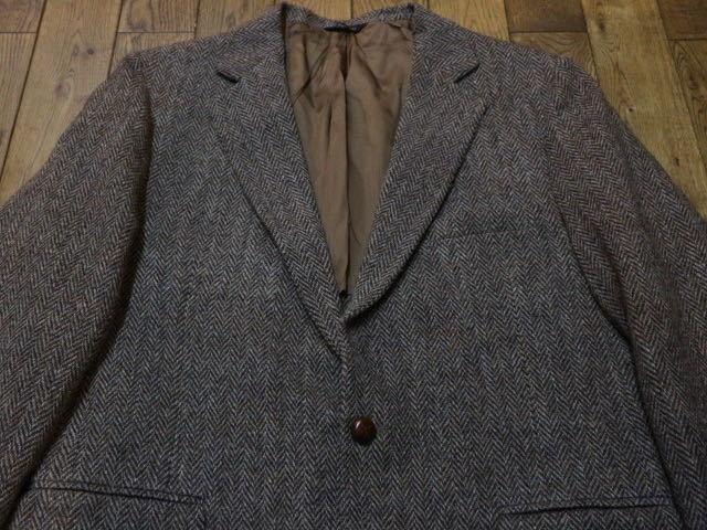 70s~ USA製 Harris Tweed Zachary All ウール テーラード ジャケット ブラウン ハリスツイード ブレザー_画像2