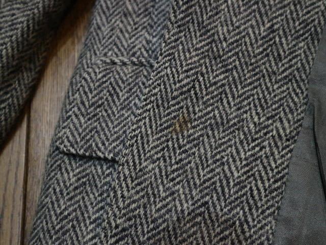 70s~ USA製 Harris Tweed harris&frank ウール テーラード ジャケット グレー ハリスツイード ブレザー_画像9