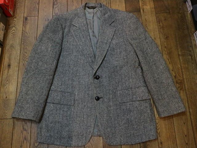 70s~ USA製 Harris Tweed harris&frank ウール テーラード ジャケット グレー ハリスツイード ブレザー_画像1