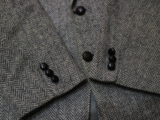 70s~ USA製 Harris Tweed harris&frank ウール テーラード ジャケット グレー ハリスツイード ブレザー_画像3
