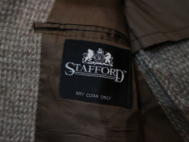 70s~ USA製 Harris Tweed STAFFORD ウール テーラード ジャケット ハリスツイード スタッフォード ブレザー_画像6