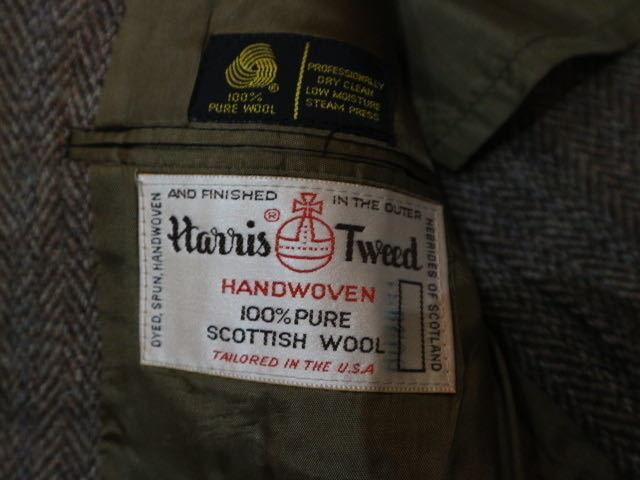 70s~ USA製 Harris Tweed ウール テーラード ジャケット ハリスツイード ブレザー_画像5
