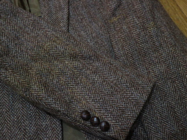 70s~ USA製 Harris Tweed ウール テーラード ジャケット ハリスツイード ブレザー_画像9